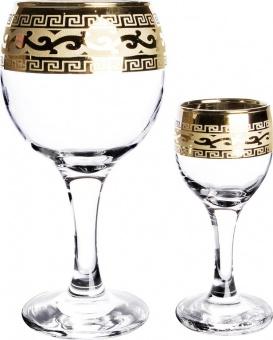 """Набор 12 предметов с рисунком """"Версаче"""" (фужеры для вина+рюмки) EAV08-411/134"""
