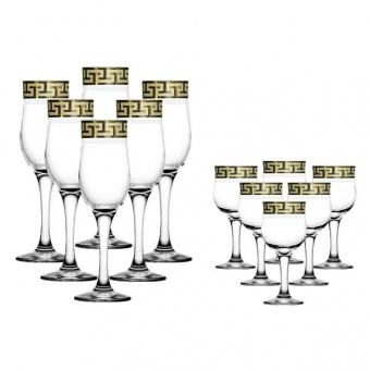 """Набор 12 предметов (6 бокалов для шампанского, 6 рюмок) с рисунком """"Греческий узор"""" GE03-160/164"""