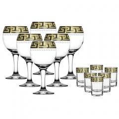"""Набор 12 предметов (6 фужеров для вина, 6 стопок) с рисунком """"Греческий узор"""" GE03-411/837"""