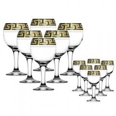 """Набор 12 предметов (6 фужеров для вина, 6 рюмок) с рисунком """"Греческий узор"""" GE03-411/134"""