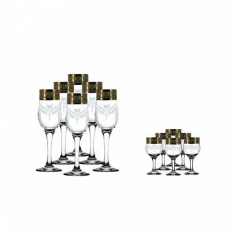"""Набор 12 предметов (6 бокалов для шампанского, 6 бокалов) с рисунком """"Русский узор"""" GE09-160/164"""