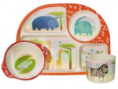 BBB набор детской посуды из бамбука - ДИКИЕ ЖИВОТНЫЕ / КОД 600904