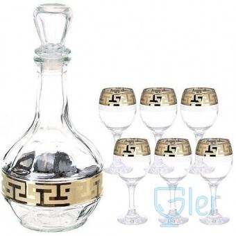"""Набор для воды 7 предметов (1 графин, 6 рюмок) с рисунком """"Греческий узор"""" GE03-500/134"""