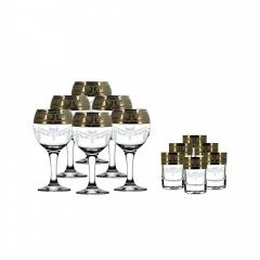 """Набор 12 предметов (6 фужеров для вина, 6 стопок) с рисунком """"Русский узор"""" GE09-411/837"""