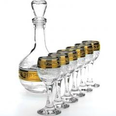 """Набор для воды 7 предметов (1 графин, 6 рюмок) с рисунком """"Русский узор"""" GE09-500/134"""