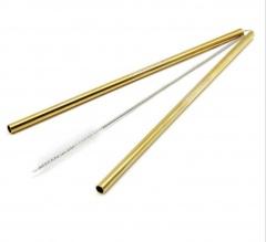 Многоразовые трубочки из нержавеющей стали (Цвет золото) / КОД 700004
