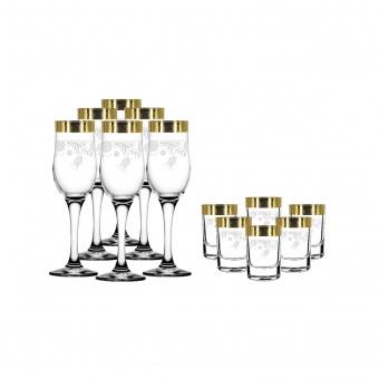 """Набор 12 предметов (6 бокалов для шампанского, 6 стопок) с рисунком """"Нежность"""" TAV34-160/837"""