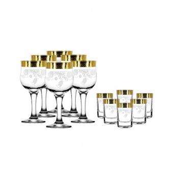 """Набор 12 предметов (6 фужеров для вина, 6 стопок) с рисунком """"Нежность"""" TAV34-163/837"""